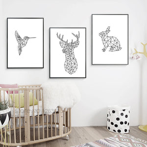 Geometric Deer Animal Posters And Prints Wall Art Canvas Prints Cuadros Wall Pictures For Living Room Canvas Painting Unframed
