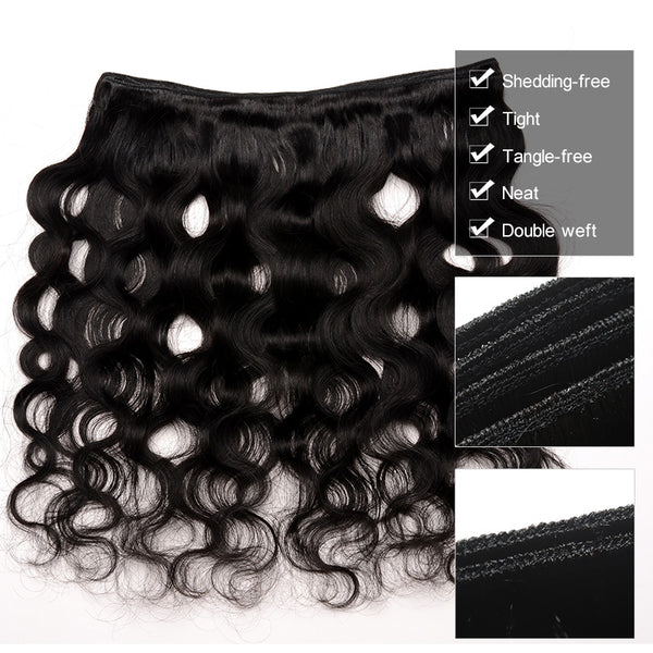 Body Wave  3 Human Hair Bundles With Closure 4Pcs Brazilian Virgin Hair With Closure Natural Color Prosa Hair Products