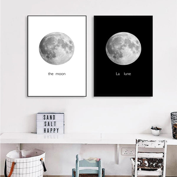 Modern The Moon Canvas Painting Black White Posters Prints Nordic Wall Art  Pictures For Living Room ...