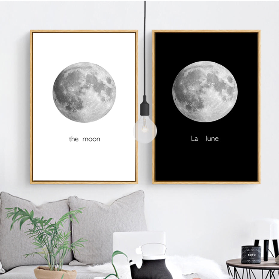 Modern The Moon Canvas Painting Black White Posters Prints ...
