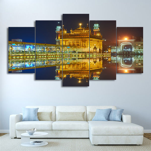 5 piece HD Print Amritsar Night View  Sikh temple Canvas Painting Wall Art Posters and Prints Framed Modular Canvas CU-2675C