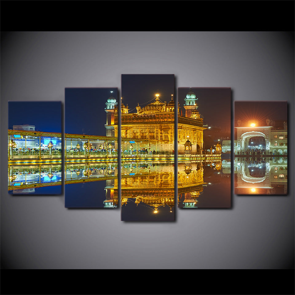 5 piece hd print amritsar night view sikh temple canvas painting wall art posters and prints framed modular canvas cu 2675c
