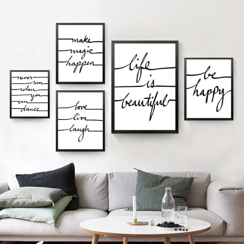 Be Happe Quote Canvas Art Print Poster, Wall Picture for Home Decoration, Life Is Beautiful Letters Art Wall Print HD2193
