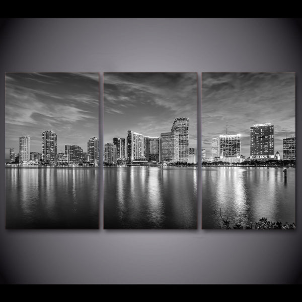 3 Piece HD Printed Canvas Painting Miami landscape Black and White Posters and Prints Wall Pictures For Living Room CU-2715D