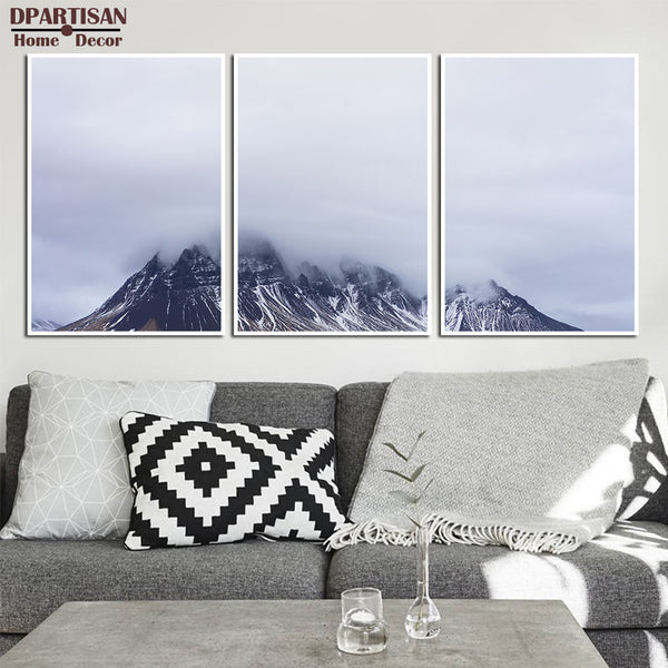 DPARTISAN Set of 3 Snow Mountain Printable Black and White Mountain Print Wall Art 3 Piece Poster Minimalist Modern No framed