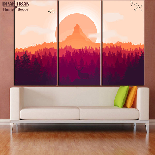 DPARTISAN 3PCS panel forest landscape wall Art  Wall Picture Room Canvas Print Modern Painting Large Canvas Art Cheap NO FRAME