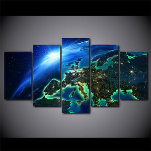 HD Printed 5 Piece Canvas Art Blue Earth Horizon Universe Painting Poster and Prints Wall Pictures for Living Room NY-7266C