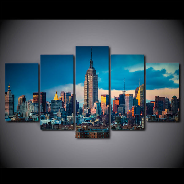 HD Printed 5 Piece Canvas Art New York City Painting Empire State Building Wall Pictures for Living Room Free Shipping NY-7271B