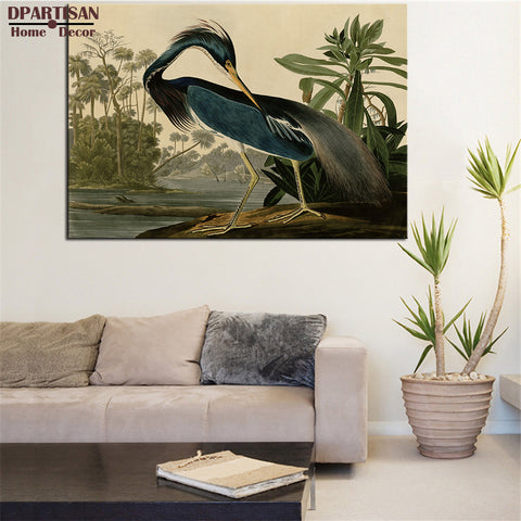 DPARTISAN LOUISIANA HERON BIRDS OF AMERICA by John James Audubon  ART PRINT  Original HUGE POSTER FOR WALL DECOR PRINT ON CANVAS
