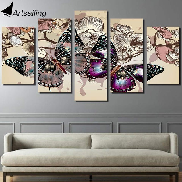 HD Printed 5 piece canvas art flower butterfly painting 5 piece paintings wall pictures for living room Artsailing