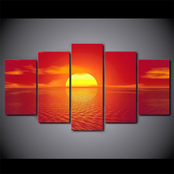 HD Printed 5 Piece Canvas Art Red Sunset Landscape Painting Modular Wall Pictures for Living Room Modern Free Shipping NY-7279A