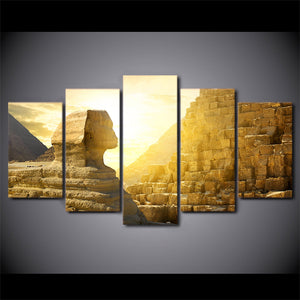 HD Printed 5 Piece Canvas Art Egypt Pyramid Paintings Wall Pictures Modular Sunset Poster Home Decor Free Shipping CU-2748C