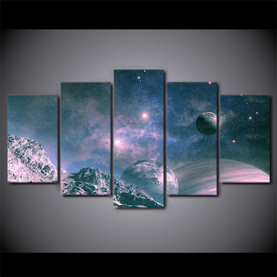 Hd Printed 5 Piece Canvas Painting Universe Starry Sky Space Posters Modular Wall Pictures For Living Room Home Decor Ny 7267b
