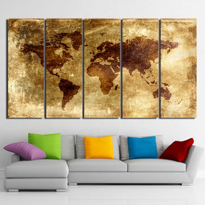 HD Printed 5 Piece Canvas Art Painting Vintage World Map Picture Posters and Prints Home Decor Modular Pictures CU-2700B