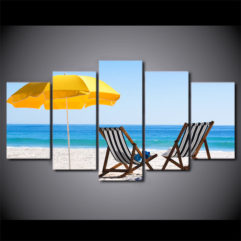 HD Printed 5 Piece Canvas Art Beach Chair Painting Beach Wall Pictures Decor Framed Modular Painting Free Shipping CU-2080C