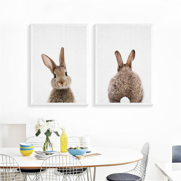 Kawaii Animals Rabbit Art Prints Poster Nursery Wall Picture Canvas Painting Kids Room Decor No Frame FG0105