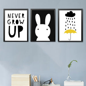 ( No Frame) Rain Umbrella Canvas Art Print Painting Poster, Wall Pictures For Child Room Decoration, Cartoon Wall Decor HD0057-2