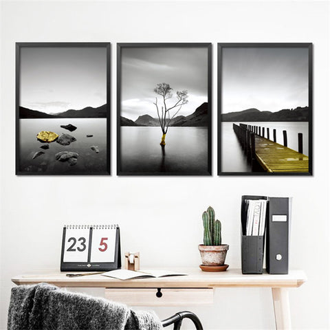 modern black white scenery wall painting posters and prints home decor wall picture canvas painting FG0036