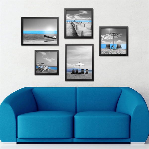 5pcs/set blue sea shore bridge oil paintings modern canvas paintings wall pictures for living room art poster print FG0022-2