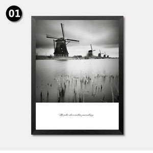 Nordic Decorative Painting Wall Art Print Poster Fashion Modular Picture Canvas Art Black White Scenery Wall Poster Print HD2235