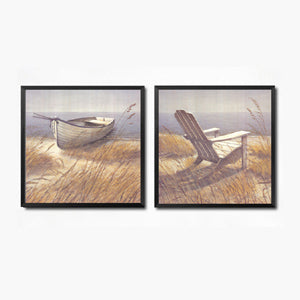 2pcs/set Seaside Scenery Wall Art Canvas Painting Posters and Prints Art Picture Chair Boat Wall Pictures No Poster Frame HD2132