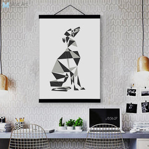 Abstract Dog Geometric Greyhound Wooden Framed Canvas Paintings Modern Nordic Home Decor Wall Art Print Pictures Poster Scroll