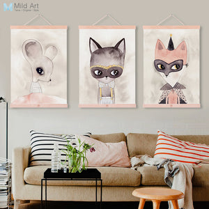 Moder Cute Animals Cat Fox Wooden Framed Canvas Painting Nursery Kids Room Home Decor Wall Art Print Picture Poster Scroll
