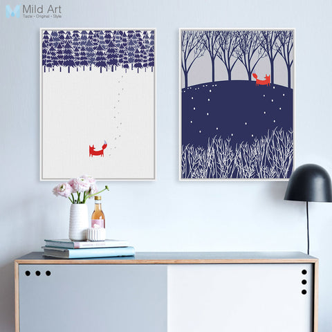 Abstract Landscape Snow Forest Cute Animal Fox Large Canvas A4 Art Print Poster Wall Picture Painting No Frame Nordic Home Decor