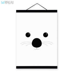 Bear Black White Minimalist Abstract Kawaii Animal A4 Wooden Framed Canvas Painting Wall Art Print Picture Poster Kids Room Deco