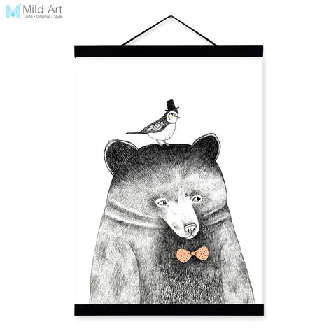 Modern Nordic Black White Kawaii Animal Bear A4 Wood Framed Canvas Painting Wall Art Print Picture Poster Hanger Kids Room Decor