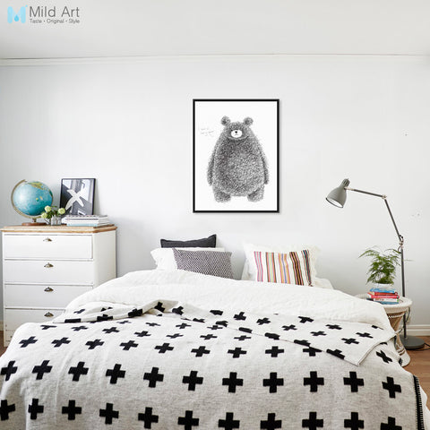 Modern Black White Cute Animals Bear Big Art Print Poster Nursery Wall Picture Canvas Paintings No Frame Nordic Kids Room Decor