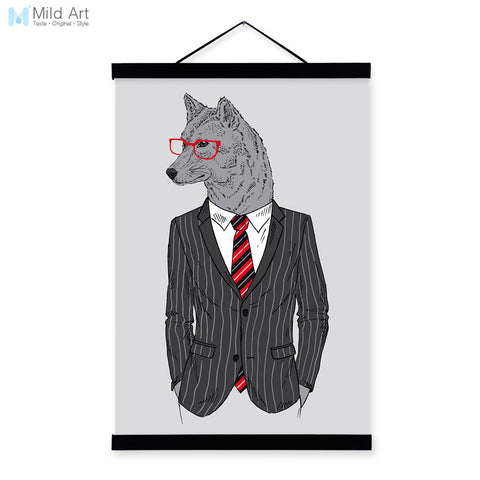 Wolf Modern Fashion Gentleman Animals Portrait A4 Wooden Framed Canvas Painting Wall Art Prints Picture Poster Office Home Decor