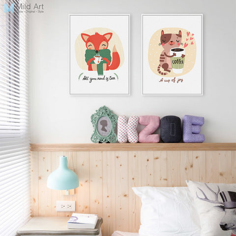 Kawaii Animals Cat Fox A4 Art Print Posters Coffee Tea Living Room Wall Pictures Canvas Painting No Framed Kids Room Decoration