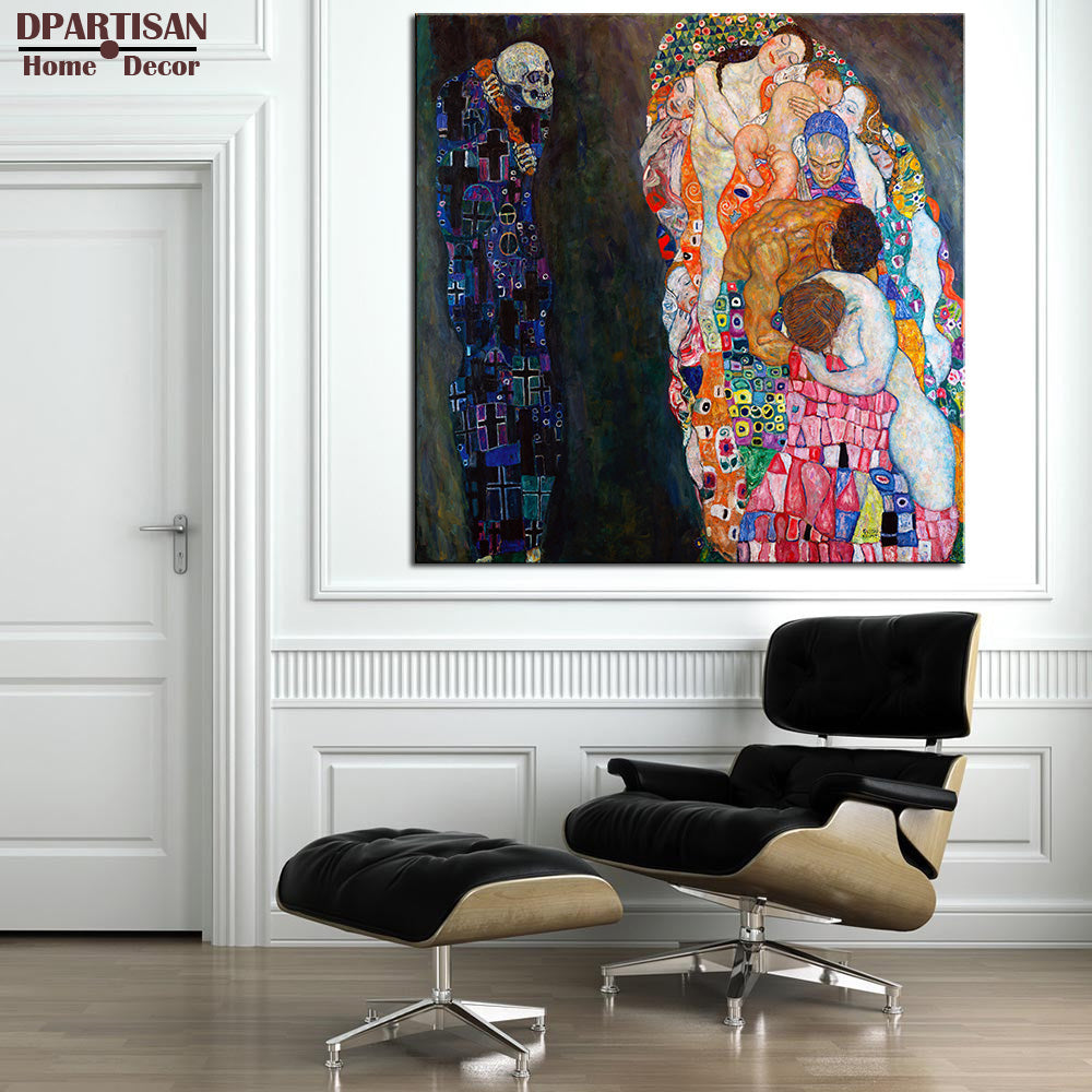DPARTISAN Huge Gustav KLIMT giclee print CANVAS WALL ART decor poster  oil painting print on canvas Death painting big size art