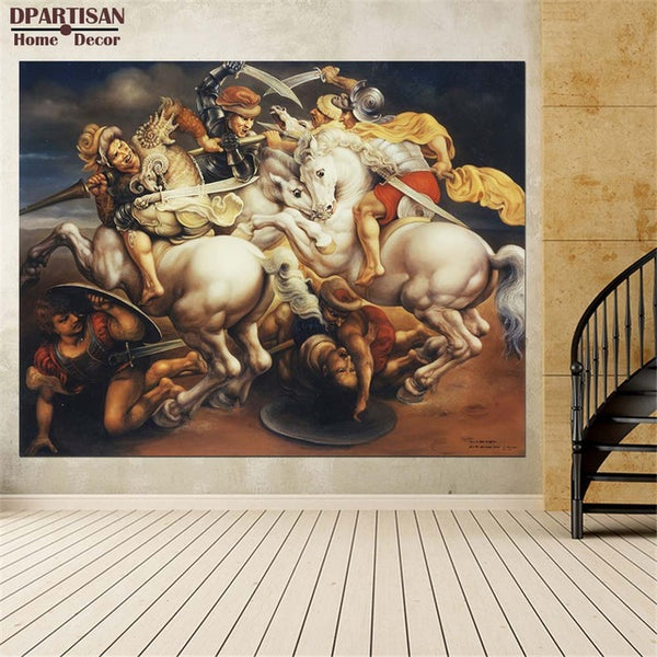 DPARTISAN oil print canvas wall art decor pictures Battle of Anghiar by Leonardo da Vinci wall painting art no frrame print arts