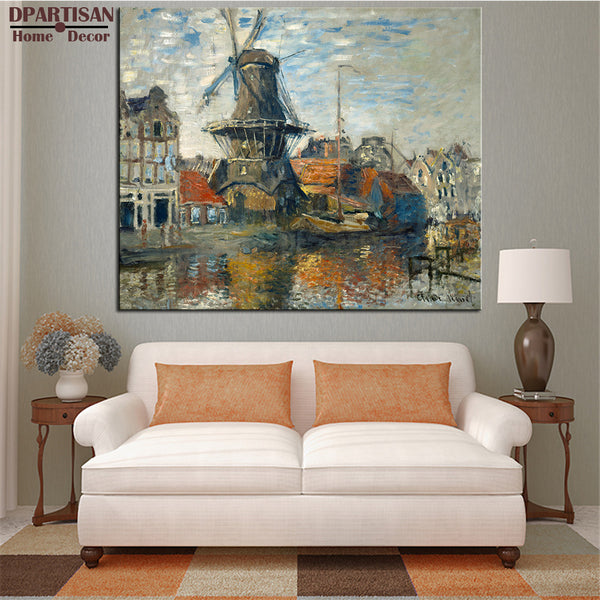 DPARTISAN Claude Monet the Windmill Amsterdam wall art Prints No frame wall painting wall picture living room wall paintings