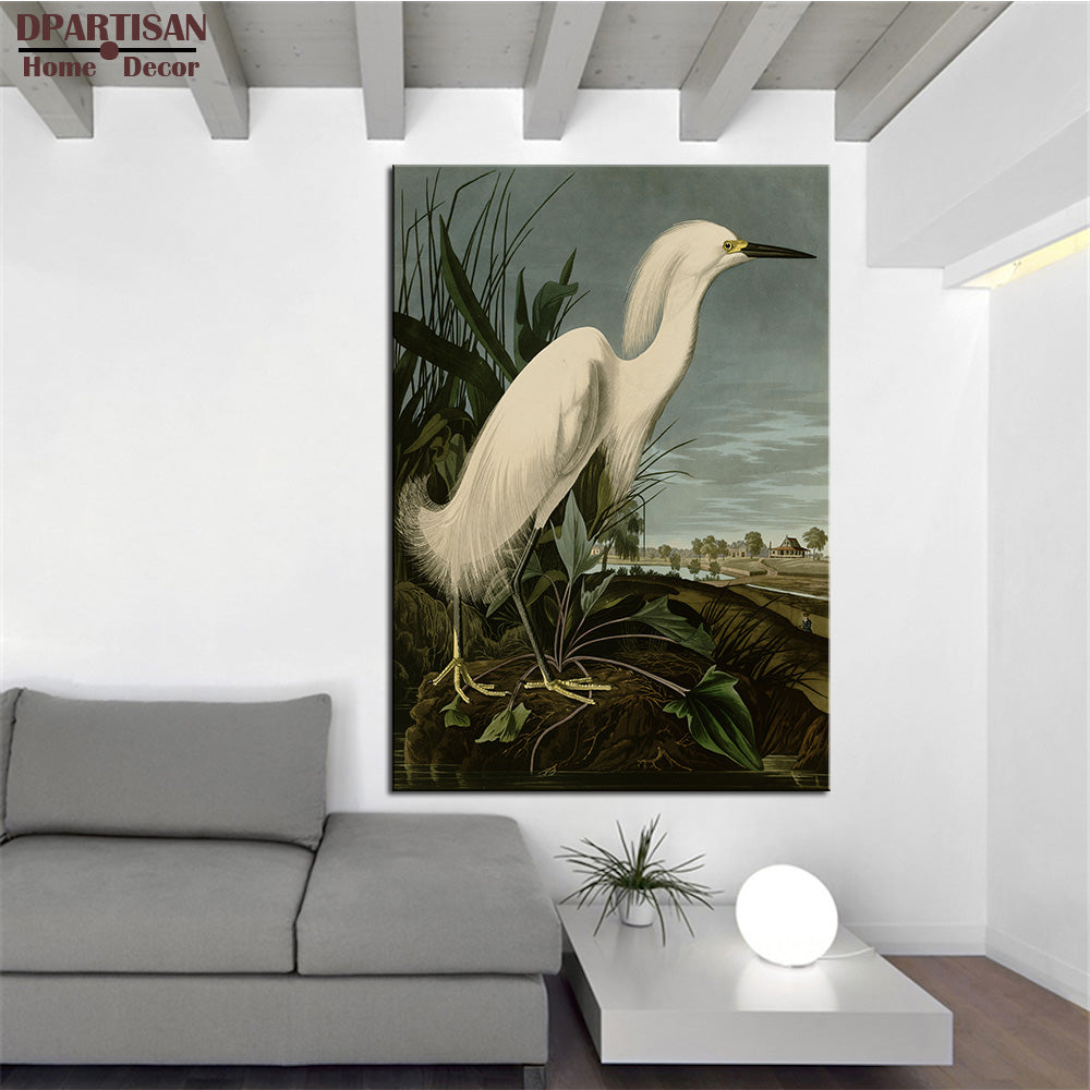 SNOWY HERON OR WHITE EGRET SNOWY EGRET (EGRETTA THULA), PLATE CCKLII, FROM THE BIRDS OF AMERICA by John James Audubon  ART PRINT