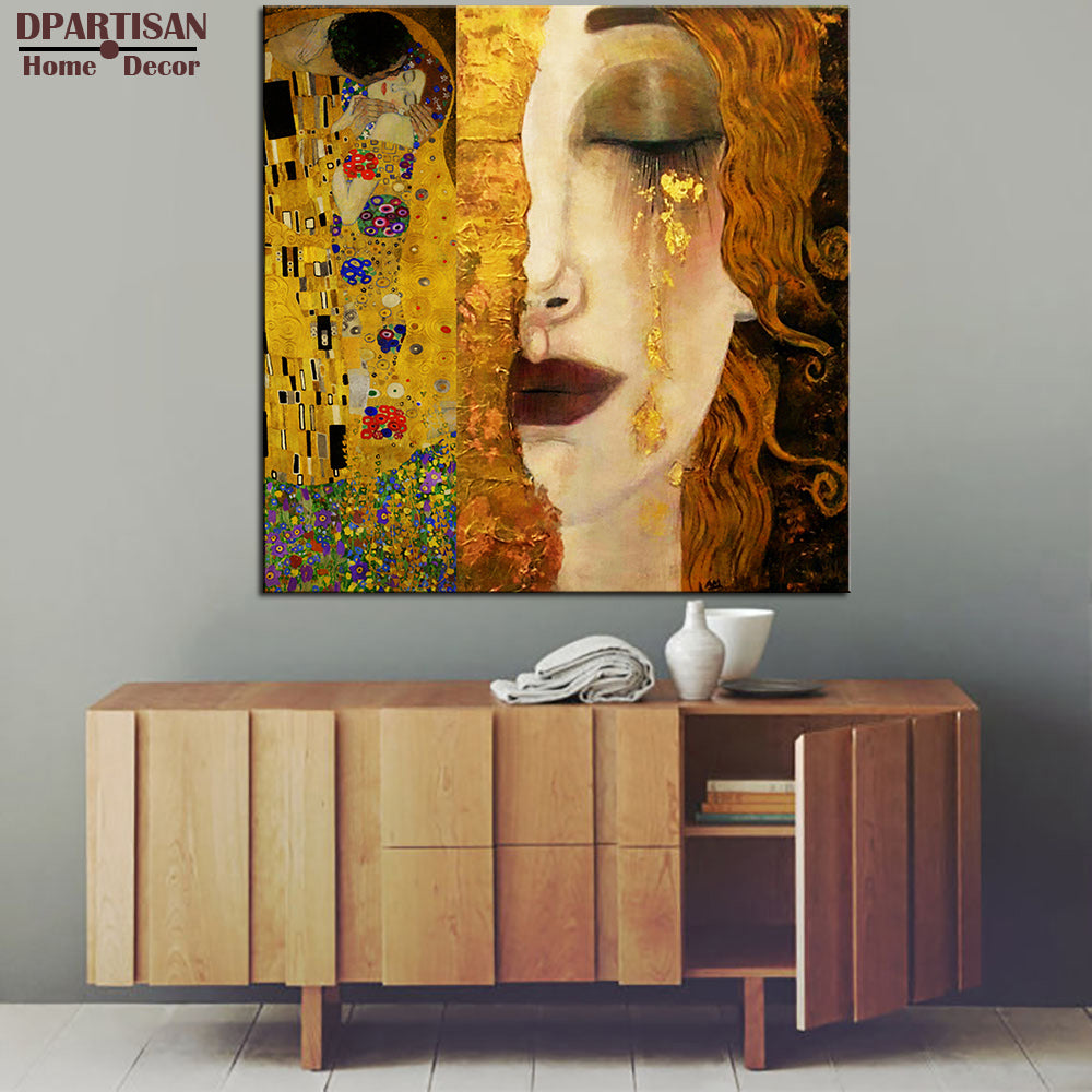 Large Sizes Klimt Portrat Woman In Gold Print Wall Art Decoration Oil Painting Wall Painting Picture No Framed Abstact Painting