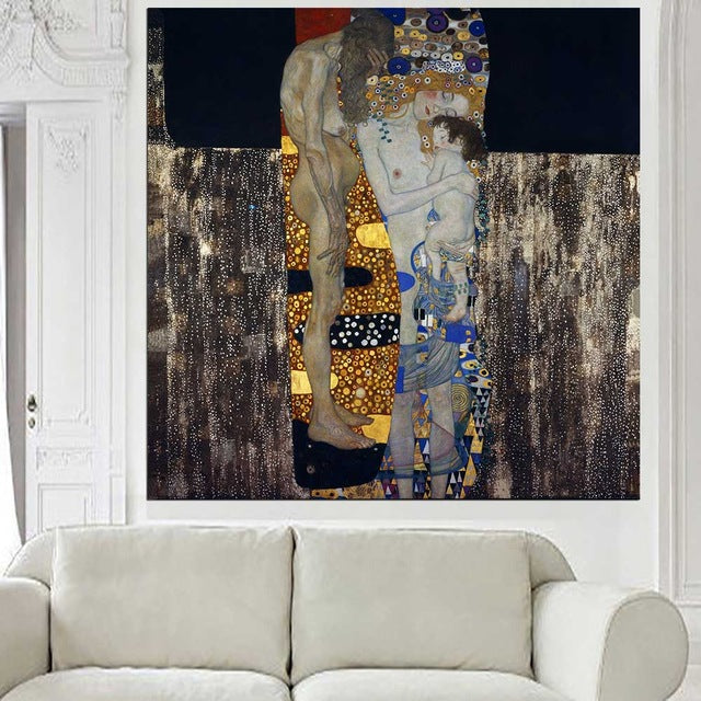 DPARTISAN oil print canvas wall art decor pictures Danae death and life three ages of woman Pallas mother child By Gustav klimt