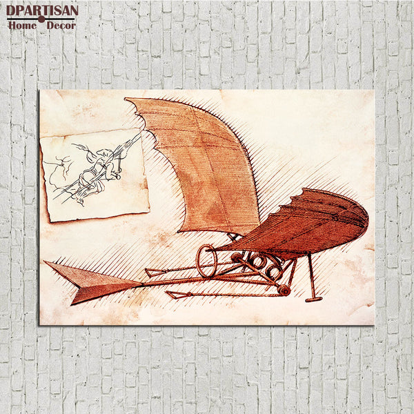 DPARTISAN LEONARDO DA VINCI LEONARDO DA VINCI FLYING MACHINE giclee print CANVAS WALL ART PRINT ON CANVAS OIL PAINTING