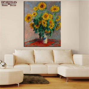DPARTISAN Claude Monet vase of sunflowers  wall art Prints No frame wall painting wall picture living room wall paintings