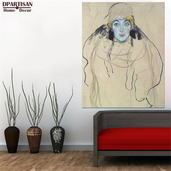 DPARTISAN oil print canvas wall art decor pictures red head portrait lady By Gustav klimt wall painting art no frrame print arts