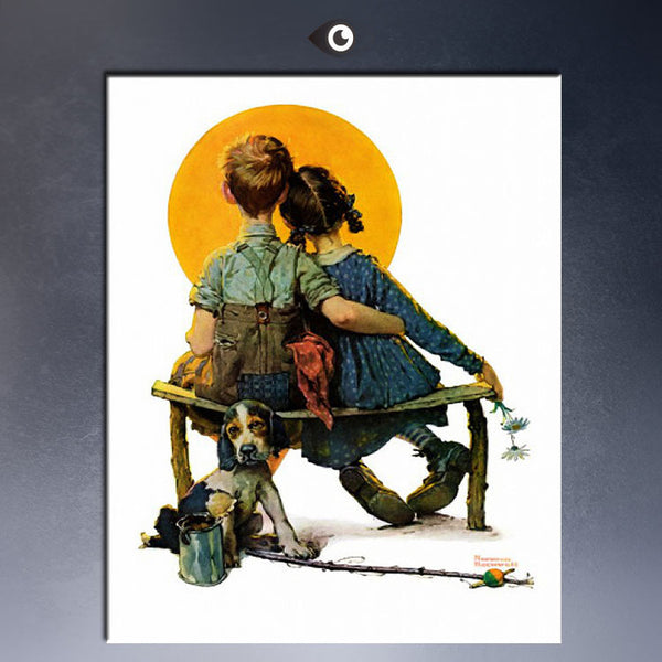 ART POSTER  Paul norman rockwell Little Spooners or Sunset CANVAS print  WALL OIL PAINTING