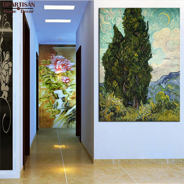 DPARTISAN VINCENT VAN GOGH Road with Cypresses c1890  print CANVAS WALL ART PRINT ON CANVAS OIL PAINTING NO FRAME WALL PAINTING