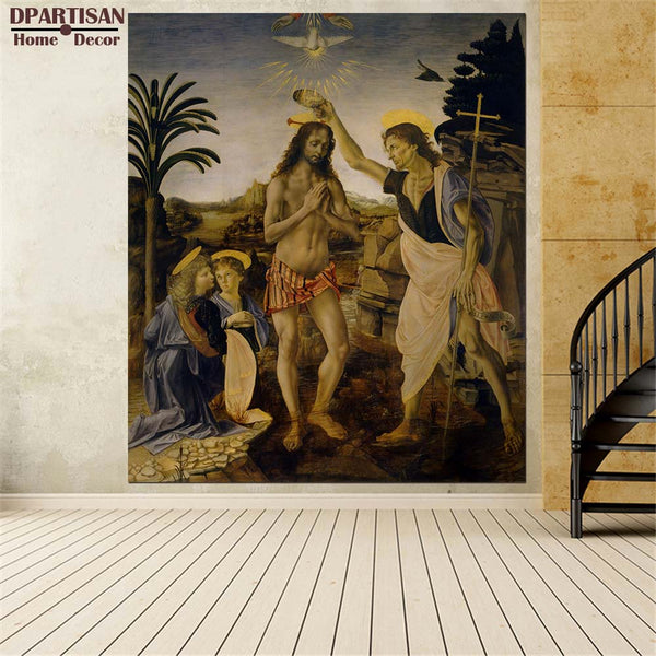 DPARTISAN oil print canvas wall art decor picture The Baptism of Christ Leonardo da Vinci wall painting art no frrame print arts
