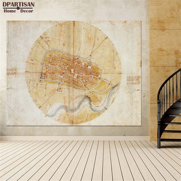 DPARTISAN oil print canvas wall art decor pictures rA plan of Imola by Leonardo da Vinci wall painting art no frrame print arts