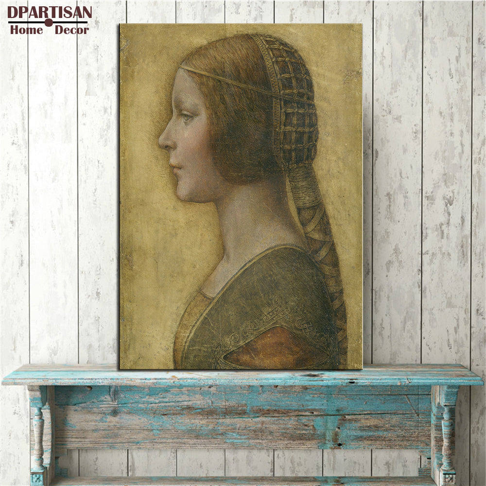 DPARTISAN LEONARDO DA VINCI Profile of a Young Fiancee print CANVAS WALL ART PRINT ON CANVAS OIL PAINTING pictures decoration