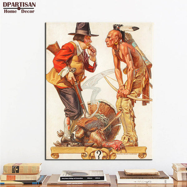 DPARTISAN wall art print picture Going to be taller hobo and dog girl returning is comming By Norman Rockwell No frame Painting