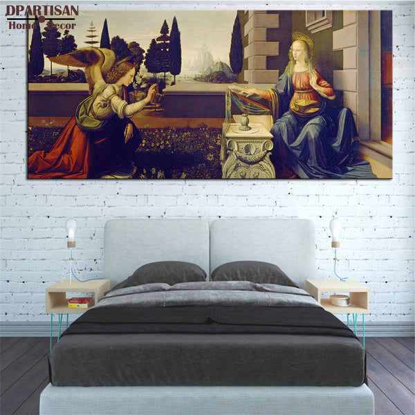 DPARTISAN LEONARDO DA VINCI Annunciation 1472-75 giclee huge big sizes print CANVAS WALL ART PRINT ON CANVAS OIL PAINTING