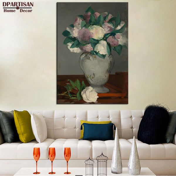 DPARTISAN Flowers in a Crystal Vase Edouard Manet c1882  Wall Painting picture leaf Home DecorArt Picture Paint on Canvas Prints